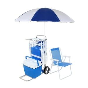 Kit Carrinho de Praia com 5 Cadeiras , 1 Caixa Térmica e 1 Guarda Sol
