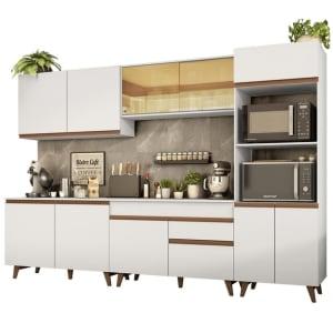 Cozinha Completa Madesa Reims 310001 com Armário e Balcão - Branco