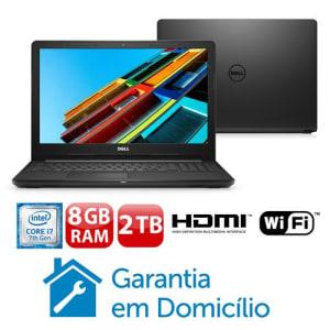 """Notebook Dell Core i7-7500U 8GB 2TB Tela 15.6"""" Linux Inspiron I15-3567-D50P"""