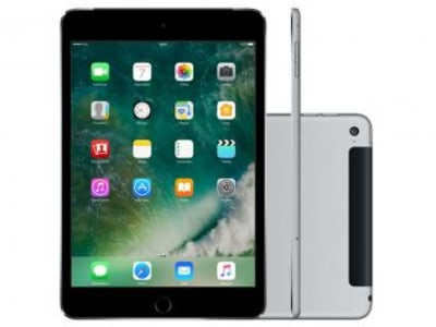 "iPad Mini 4 Apple 128GB Cinza Tela 7,9"" Retina 4G - Wi-Fi Processador M8 Câmera 8MP + Frontal 1.2MP - Magazine Ofertaesperta"