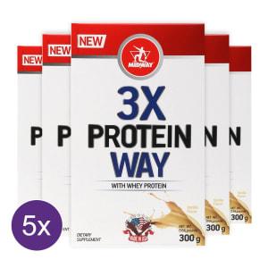 Kit 5x Way Protein 3x: Blend de proteínas concentradas soja, leite e albumina - Midway 300g