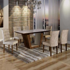 Conjunto Sala de Jantar Mesa Tampo de Vidro 6 Cadeiras Viggor Cel Móveis Chocolate/Pena 84