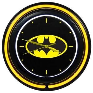 Relógio de Parede Dupla Neon Plástico e Vidro DC Comics Logo do Batman - Metrópole