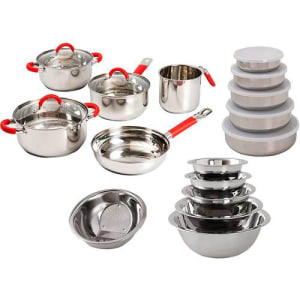 Conjunto de Panela Inox Soft 5 Peças Vermelho + Kit Inox 11 Peças La Cuisine