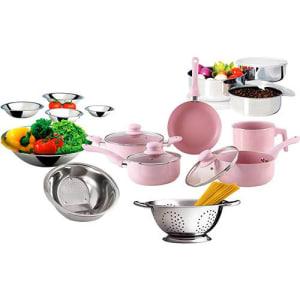 Conjunto de panelas Everyday Rosa 5 peças + Kit Inox 10 peças - La Cuisine