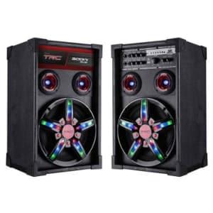 """Caixa de Som Amplificadora Bluetooth 300W TRC, Alto-Falante de 10"""", Entrada USB, Rádio FM, Alça, Iluminação em LED e Entrada para Guitarra - TRC 362"""