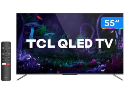 "Smart TV 4K QLED 55"" TCL C715 Android - Wi-Fi Bluetooth HDR 3 HDMI 2 USB - Magazine Ofertaesperta"