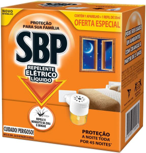 10 Unidades de Repelente Elétrico Líquido 45 Noites Kit com Aparelho e Refil - SBP