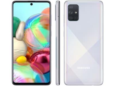 """Smartphone Samsung Galaxy A71 128GB Prata 6GB RAM - Tela 6,7"""" Câm. Quádrupla Câm. + Selfie 32MP"""