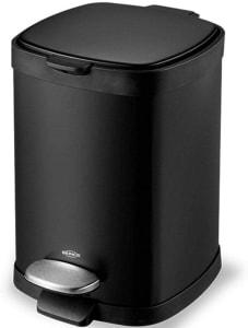 Lixeira em Aço Carbono com Pedal Inox e Balde Removível, 20L, Preto, Brinox