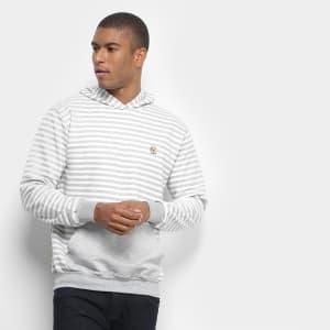 Blusão Costão Fashion Style Listrado C/ Capuz Masculino - Mescla