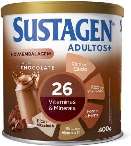 2 Unidades Complemento Alimentar Sustagen Adultos+ Sabor Chocolate - Lata 400g cada