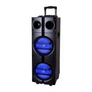 Caixa de Som Amplificada TRC 1000 Bluetooth USB Entrada para Microfone Rádio FM e Iluminação 1000W