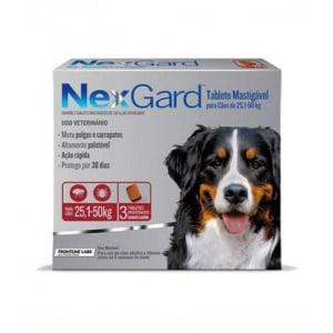 Nexgard Gg 25 A 50kg Com 3 Tabletes Mastigaveis