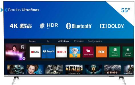 "Smart TV Philips 55"" 4K UHD HDR10+ Dolby Vision Dolby Atmos Bluetooth WiFi 3 HDMI 2 USB - Prata Bordas ultrafinas"