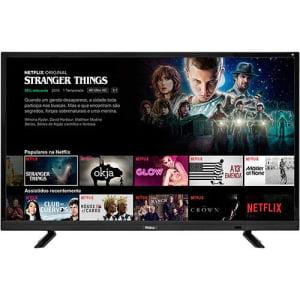 """Smart TV LED 32"""" Philco PTV32E21DSWN HD com Conversor Digital 3 HDMI 2 USB Digital Wi-Fi Netflix - Preta"""