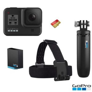 Câmera Digital GoPro Hero 8 Black 12MP, 4K + Bateria Extra + Cartão SD 32GB + Shorty + Faixa