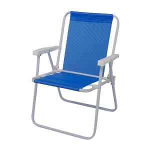 Cadeira de Praia Dobrável em Aço 1 Nível Mor Sannet Azul 2283