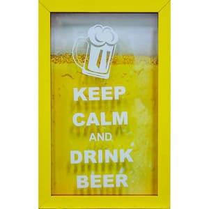 Quadro Keep Calm Beer Porta-Tampinhas Amarelo 17x27x3cm - Kapos