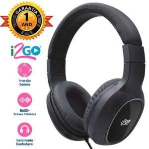 Fone Over Ear Bass Go Preto Com Microfone 1,2m i2GO PLUS - Magazine Ofertaesperta