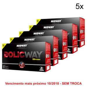 Kit 5x Bolic Way 60 Tabs + 30 Cáps - BCAA + Cafeína + Creatina - Midway