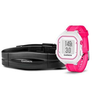 Relógio Esportivo Garmin Forerunner 25 Branco e Rosa com GPS e Monitor de Frequência Cardíaca