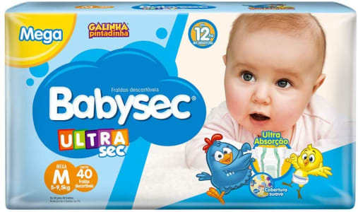 5 unidades -  Fraldas descartáveis Babysec Ultrasec Galinha Pintadinha, 44 Unidades, Tamanho M 5 - 9,5 Kg