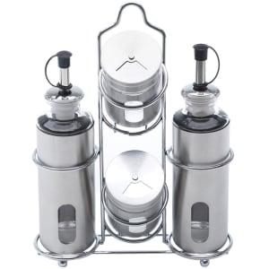 Oferta ➤ Conjunto Galheteiro de Aço Inox e Vidro 5 peças Pointer – Bon Gourmet – Prata   . Veja essa promoção