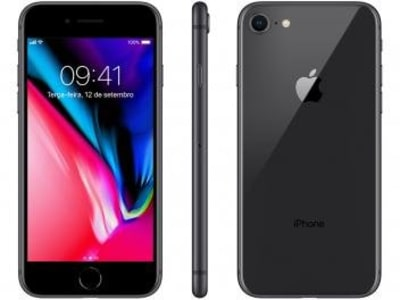 "[3 cores] iPhone 8 Apple 64GB Cinza Espacial 4G Tela 4,7"" - Retina Câm. 12MP + Selfie 7MP iOS 11"