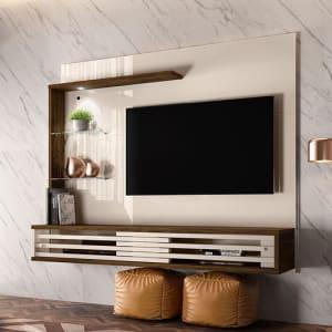 """Painel Suspenso para TV de 50"""" Frizz Select - Madetec - Off white / Savana"""