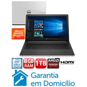 "Notebook Dell Core i7-7500U 8GB 1TB Placa Gráfica 2GB Tela 15.6"" Windows 10 Inspiron I15-5566-A70B"