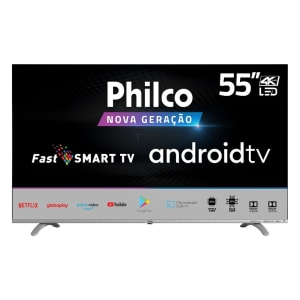 "Smart Google Tv Philco 55"" Led Borderless 4k, Fast Smart, Áudio Dolby, Com Chromecast Built In - Ptv55q20agbls 4k"