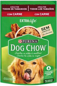 4 unidades - NESTLÉ PURINA DOG CHOW Ração Úmida para Cães Adultos Carne ao Molho 100g