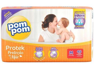 Fralda Pom Pom Protek Proteção de Mãe Mega - M 46 Unidades - Magazine Ofertaesperta