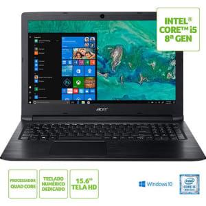 """Notebook A315-53-C5X2 8ª Intel Core I5 8GB 1TB LED HD 15.6"""" W10 Preto - Acer"""