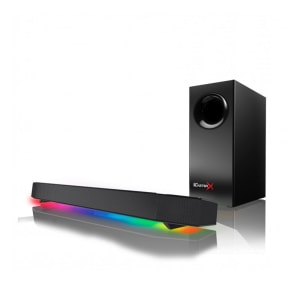 Caixa de Som Soundbar Creative Pebble SBX Katana, Bluetooth, Subwoofer, LED RGB, 7.1, USB/P2, 75W-150W, Preto - 51MF8245AA000