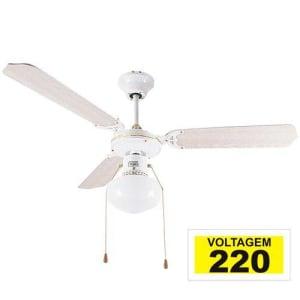 Ventilador De Teto Hl-17 1 Globo E-27 3 Pás Reversíveis Branco 220v