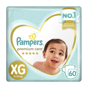 Fralda Pampers XG Premium Care Jumbo - 60 Unidades