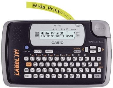 Etiquetadora LCD de 2 Linhas e 16 Dígitos, Casio KL-120, Preto