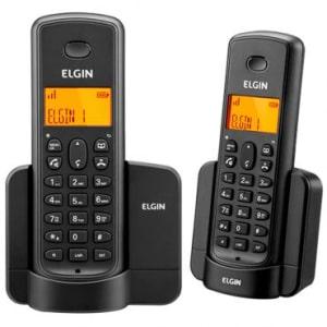Telefone Elgin TSF8002 Preto Sem Fio + Ramal - Identificador, Viva Voz, Agenda, 5 Opções de Campaínha Display Iluminado e Agenda Compartilhada