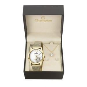 Kit Relógio Feminino Analógico Champion, Pulseira de Aço Dourado, Caixa de 3,9 CM, Resistente à Água - 5 ATM (50 Metros) - CH25918W