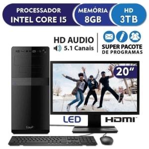 "Computador PC CPU Completo Intel Core i5 8GB Hd 3TB Monitor 19.5"" HDMI LED EasyPC Standard"