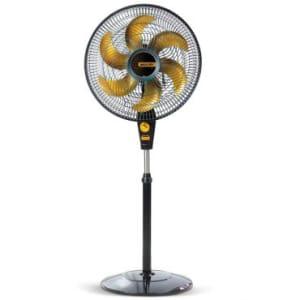 Ventilador de Coluna Delfos TS+ Preto e Dourado - Coluna, Hélice com 6 Pás, , 3 Velocidades, Turbo, Silencioso, Alça para Transporte - Mallory