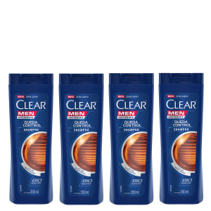 Kit Shampoo Anticaspa Clear Men Queda Control 200ml com 4 unidades - Incolor