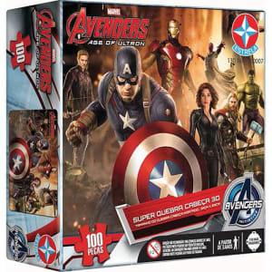 Super Quebra-Cabeça 3D Avengers 100 Peças - Estrela