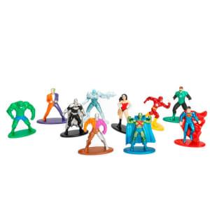 Conjunto de 10 Mini Figuras - 5 Cm - Nano Metal - DC Comics - Heróis e Vilões - DTC