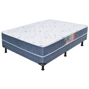 Cama Box Conjugado Casal Umaflex Native com Espuma D28 51x138x188 cm – Azul / Branco