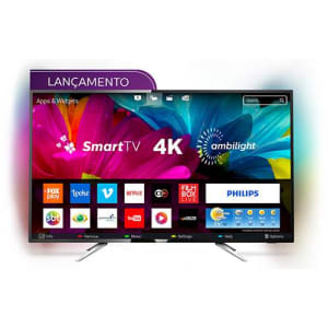 "Smart TV LED Ambilight 55"" Philips 55PUG6212/78 Ultra HD 4k com Conversor Digital 4 HDMI 2 USB Wi-Fi 60Hz - Preto"