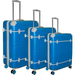 Jogo de Malas 3 Peças (P, M e G) em ABS Azul com Branco - Yins