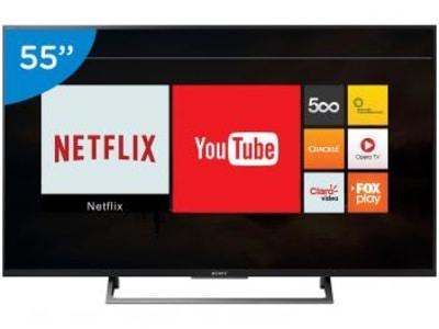 "Smart TV LED 55"" Sony 4K/Ultra HD KD-55X705E - Conversor Digital Wi-Fi 3 HDMI 3 USB - Magazine Ofertaesperta"